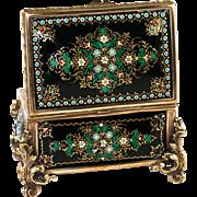 """SALE Antique French Kiln-Fired Enamel Jewelry Casket, Box, Raised Enamel """"Jewels"""""""