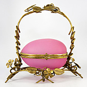 "SALE Large Antique French Opaline Egg Jewelry Casket, Ormolu Frame Box, Pink and 8"" Tall,"