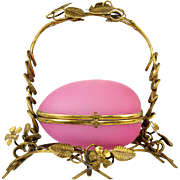"SALE Large Antique French Opaline Egg Jewelry Casket, Ormolu Frame Box, Pink and 8"" Tall"