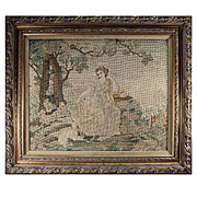 SALE Fine Antique Petitpoint Needlepoint Tapestry in Frame,