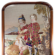 SALE HUGE Antique Victorian Era Needlepoint Tapestry in fine Walnut Frame, Scottish Kilts, 2 B
