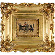 "SOLD Antique Miniature Painting in Ornate Gilded Frame; 1700s Card Players ""The Bizarre o"