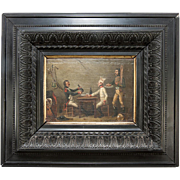 SOLD Antique Oil Painting, Napoleon Era Bistro Interior w Soldier, c. 1809, Signed & in Frame