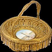 SALE Antique French Palais Royal Grand Tour Souvenir Tray, Place Vendome Eglomise