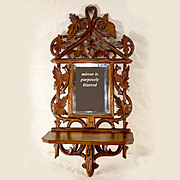 "SALE Antique Hand Carved 22"" Black Forest Frame Mirror and Fold-up Wall Shelf Combo"