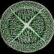 """SALE 1800s Antique 'Verte' Majolica 8"""" Plate, Leafy Green #2"""
