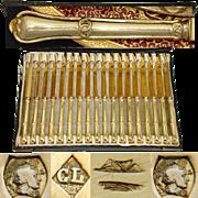 "SALE Gorgeous Antique French 18pc Vermeil Silver 8"" Knife Set, 18pc with Gordion Knot Pat"