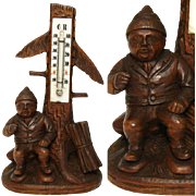 """SALE Antique Black Forest Gnome 8"""" Thermometer Stand, a Gnome"""