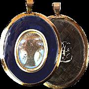 """SALE Antique Georgian Mourning Locket, 3"""" 12K Gold Frame."""