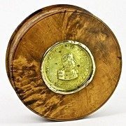 SOLD Antique Napoleon Era Burled Wood & Tortoise Shell Snuff Box, Medal of General Foy, 18k