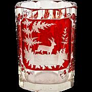 SALE Excellent Antique Bohemian Hunt Theme Ruby Glass Tumbler, Stag