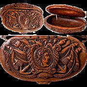 SALE Antique Napoleon Era French Carved Coquilla Nut Snuff Box, Napoleon Commemorative