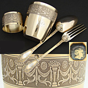 SALE Lovely Antique French Vermeil Sterling Silver 4pc Child's Dinner Set w/ Tumbler & Napkin