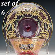 SALE Antique Bohemain Cranberry Glass Moser Bowl & Saucer Set for 6: 12 Pieces, Hand Painted