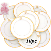 SALE Antique 1911 MINTON 10pc Dinner Plate Set, Ornate Gold Borders & Raised Gold Monograms