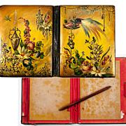 SALE Antique Victorian Era Papier Mache Carnet du Bal, Necessaire or Card Case, Aide d'Memoire