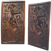 SALE Antique Hand Carved Large Walnut Wood Panel, Figural with Woman's bust, Probably Italian