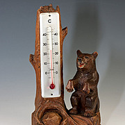 SALE Vintage Hand Carved Black Forest Bear and Log Thermometer Stand, Weather Station