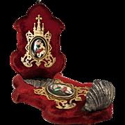 SOLD Antique French Holy Font, Madonna & Child on Porcelain, Brass Frame