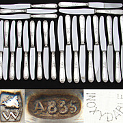 SOLD Gorgeous Vintage 24pc Table Knife Set, Rococo Pattern, .835 (nearly sterling) Silver Hand