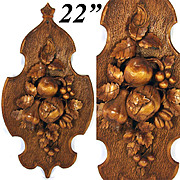"SALE Unique Antique Black Forest Carved 22.5"" Wall Plaque: Fruit, Nuts, Vines & Foliage"