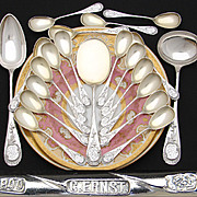 SALE Fabulous Antique Continental .800 (nearly sterling) Silver 21pc Ice Cream or Dessert Serv