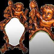 "SALE Antique c. mid 1800s Italian Renaissance Style Carved 17.5"" Vanity Mirror, Cherub or"
