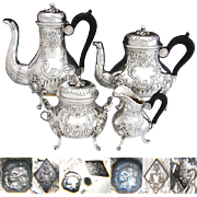 SALE Gorgeous Antique French Sterling Silver 4pc Coffee & Tea Set, Ornate Rococo Styling