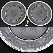 "SALE Lovely PAIR of Antique French Sterling Silver & Intaglio Etched Glass 8 3/8"" Plate S"