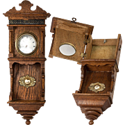 SALE Antique French Miniature Wall Clock Casing is a Pocket Watch Holder, Stand. Great for ...