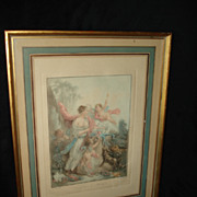 French Mezzotint Cupid and Muse