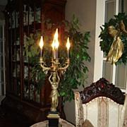 Vintage Grecian  Alabaster Girandole  Lamp