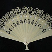 SALE 19th Century Celluloid Cupid Wedding Fan