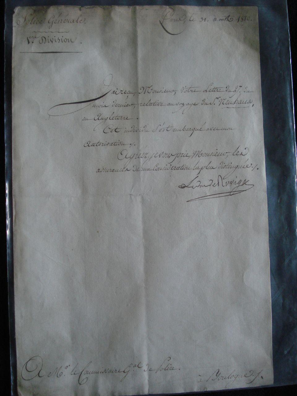 Original letter from Duc de Rovigo General of Napoleon Bonaparte.