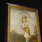 SALE Oil Painting Young girl On Pond