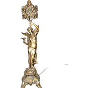 French Art Nouveau Angel Of Peace Lamp