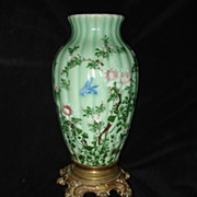 SALE French Hand painted Glass Large Glass Vase III Empire