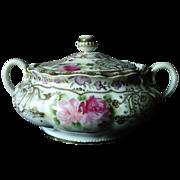 SALE Nippon Porcelain Moriage Biscuit Barrel