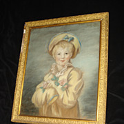 SALE French Pastel Portrait Of Young Boy