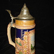 German Gerz Hand Painted  Pottery Stein