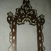 SALE Folk Art Rosewood and Mop Picture Frame