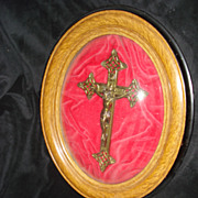 SALE French Bronze Framed Crucifix