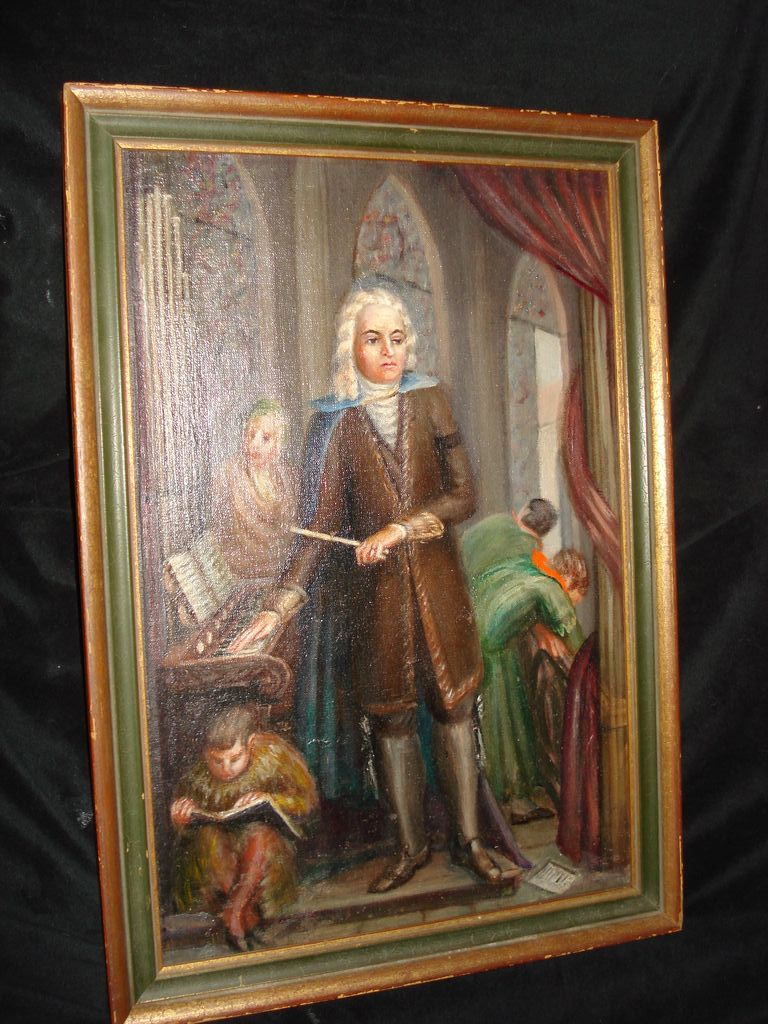 Oil Painting of Beethoven listed artist J , Pollet