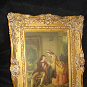 Duverger French Painting on Tin Courtship Scene c19th