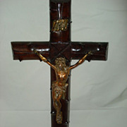 SALE French Wooden Large Bronze Crucifix