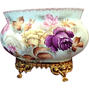 SALE PENDING Hand Painted French Floral Jardiniere