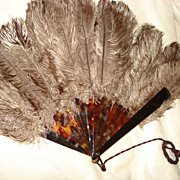 SALE Victorian French Ostrich Feather Hand Fan