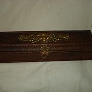SALE Carved Leather Napoleonic Glove Box
