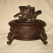 SALE German Carved Black Forest Bird Box