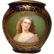SALE Royal Vienna Hand Painted Cobalt Portrait Vase
